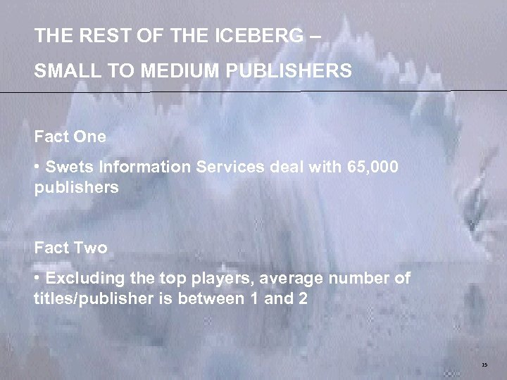 THE REST OF THE ICEBERG – SMALL TO MEDIUM PUBLISHERS Fact One • Swets