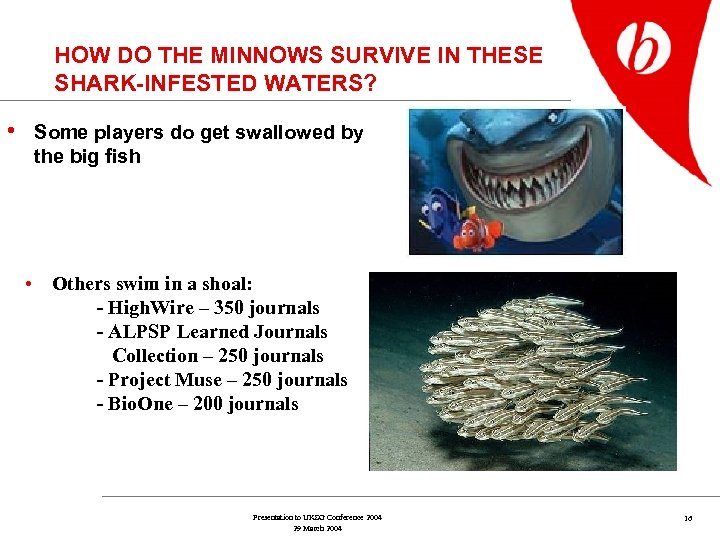 HOW DO THE MINNOWS SURVIVE IN THESE SHARK-INFESTED WATERS? • Some players do get