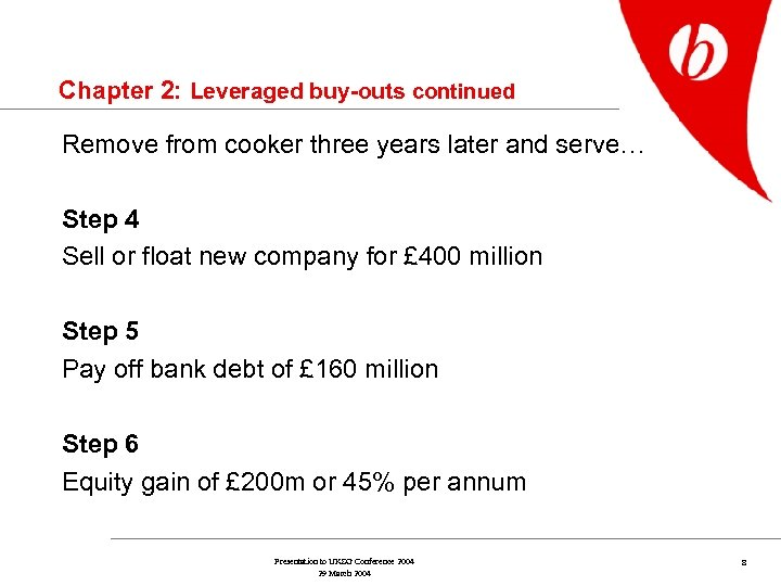 Chapter 2: Leveraged buy-outs continued Remove from cooker three years later and serve… Step