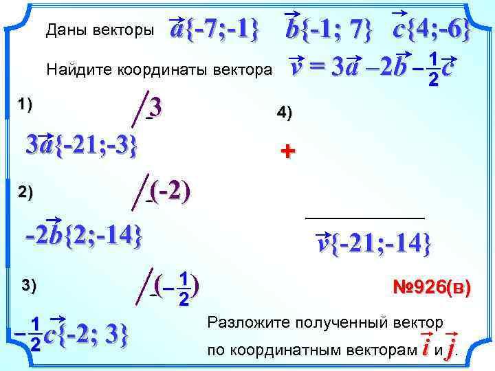 a{-7; -1} b{-1; 7} c{4; -6} – 1 c Найдите координаты вектора v =