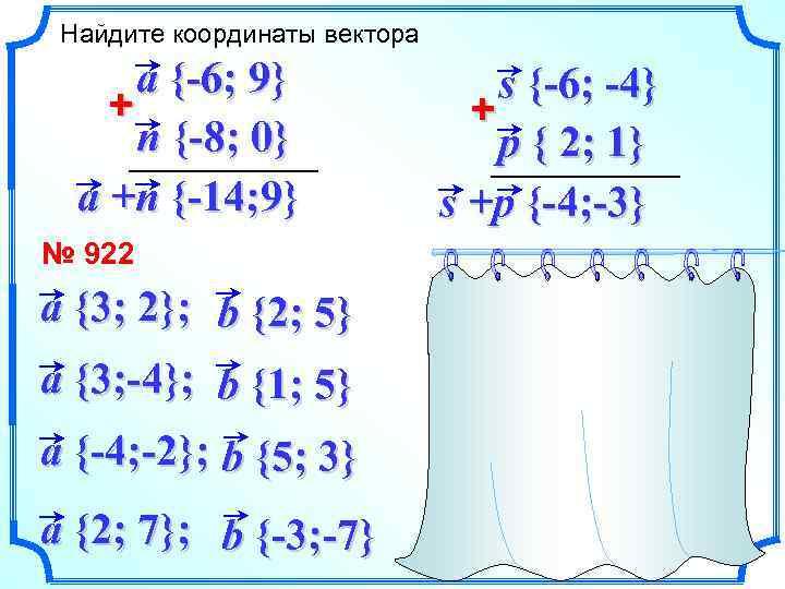 Найдите координаты вектора a {-6; 9} + n {-8; 0} a +n {-14; 9}