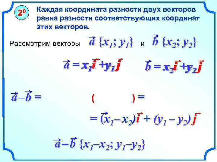 20 Каждая координата разности двух векторов равна разности соответствующих координат этих векторов. Рассмотрим векторы