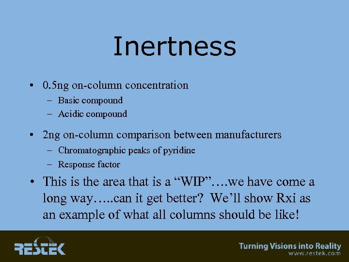 Inertness • 0. 5 ng on-column concentration – Basic compound – Acidic compound •