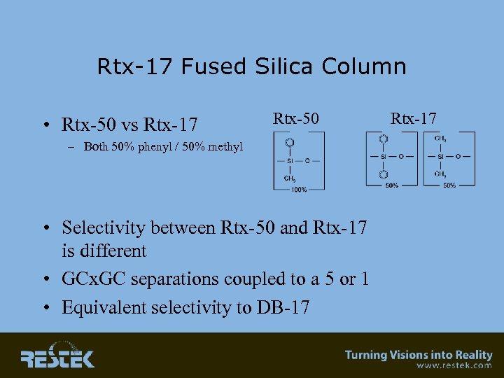 Rtx-17 Fused Silica Column • Rtx-50 vs Rtx-17 Rtx-50 – Both 50% phenyl /