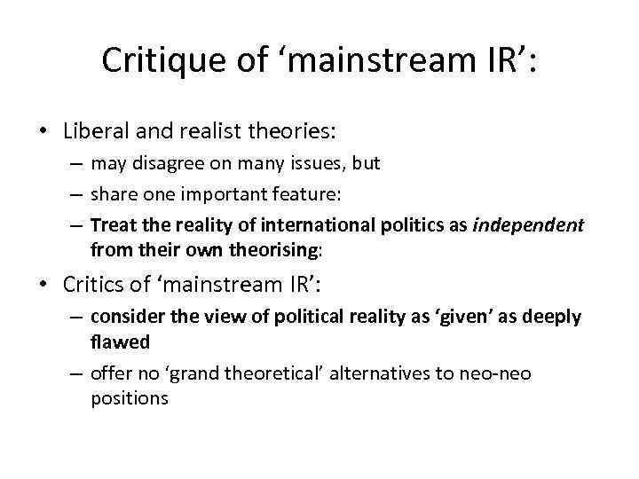 """realism and liberalism compare and contrast Lecture1 realism and liberalism 1 theme """"major international relations theories"""" lecture 1 political realism and liberalism the story of."""