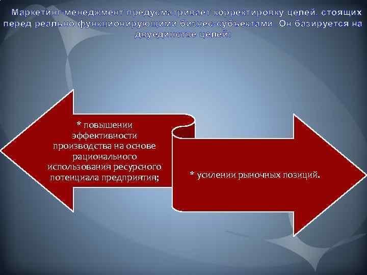 Маркетинг-менеджмент предусматривает корректировку целей, стоящих перед реально функционирующими бизнес-субъектами. Он базируется на двуединстве целей: