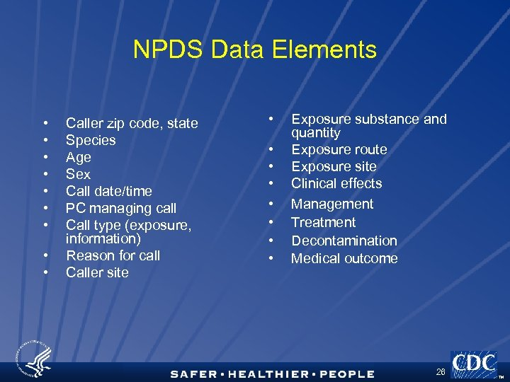 NPDS Data Elements • • • Caller zip code, state Species Age Sex Call