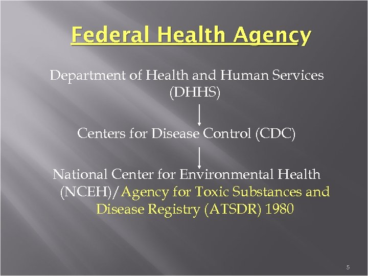 Federal Health Agency Department of Health and Human Services (DHHS) Centers for Disease Control