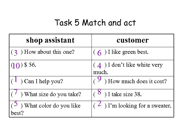 Task 5 Match and act shop assistant customer ( 3 ) How about this