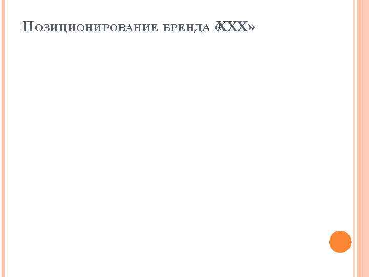 ПОЗИЦИОНИРОВАНИЕ БРЕНДА « XXX»