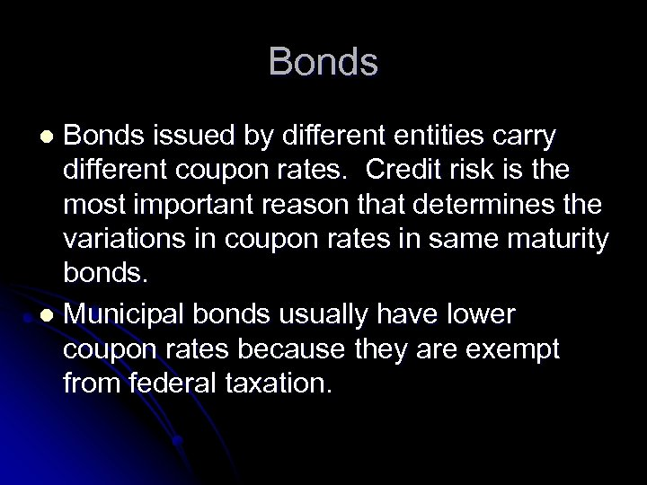 Bonds issued by different entities carry different coupon rates. Credit risk is the most