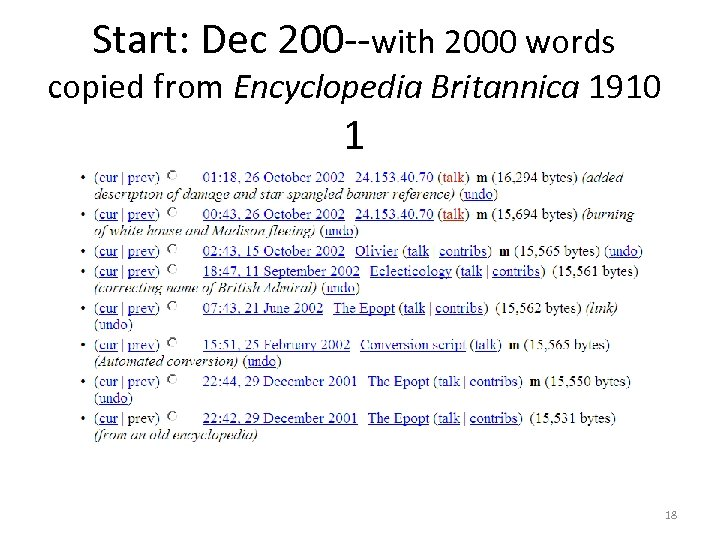 Start: Dec 200 --with 2000 words copied from Encyclopedia Britannica 1910 1 18