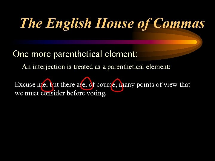 The English House of Commas One more parenthetical element: An interjection is treated as