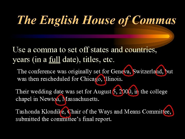 The English House of Commas Use a comma to set off states and countries,