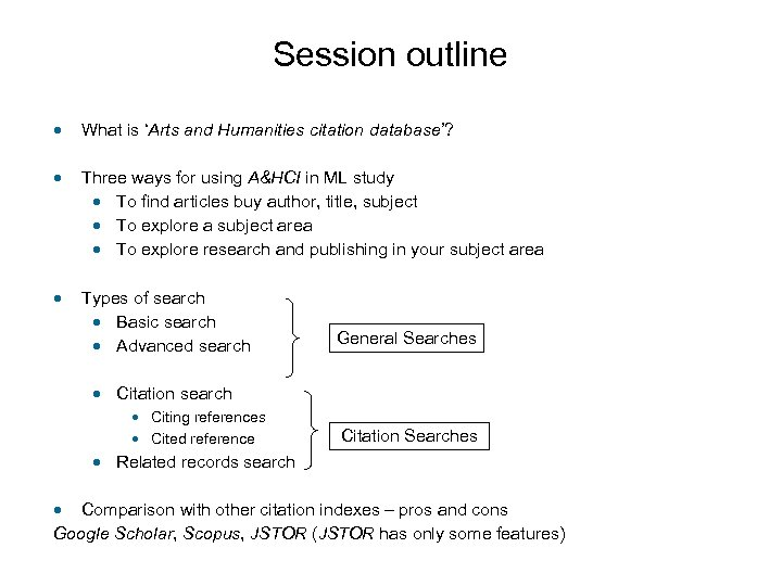 Session outline • What is 'Arts and Humanities citation database'? • Three ways for