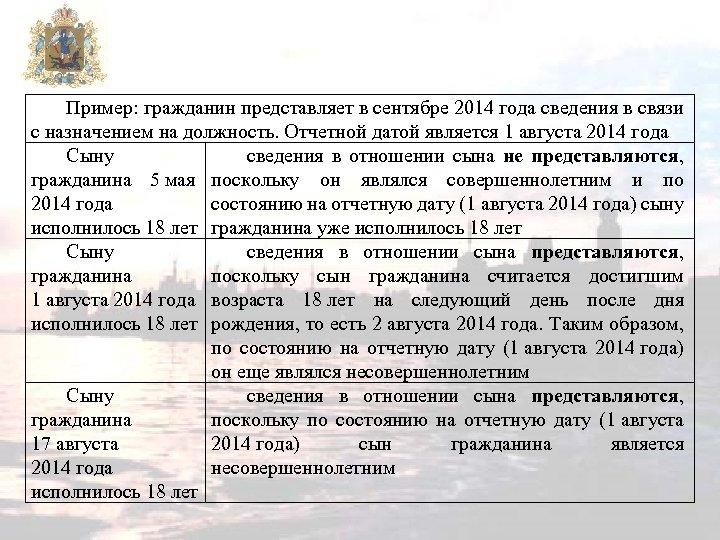 Пример: гражданин представляет в сентябре 2014 года сведения в связи с назначением на должность.