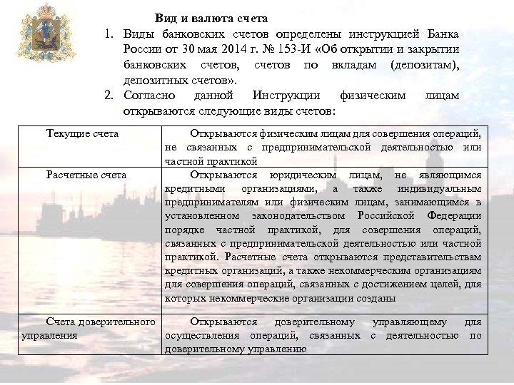 Вид и валюта счета 1. Виды банковских счетов определены инструкцией Банка России от 30