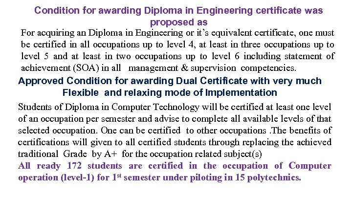 Condition for awarding Diploma in Engineering certificate was proposed as For acquiring an Diploma