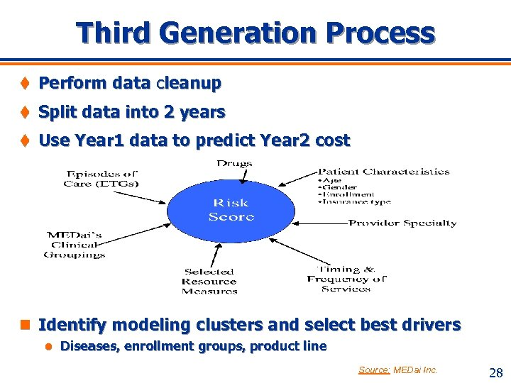 Third Generation Process t Perform data cleanup t Split data into 2 years t