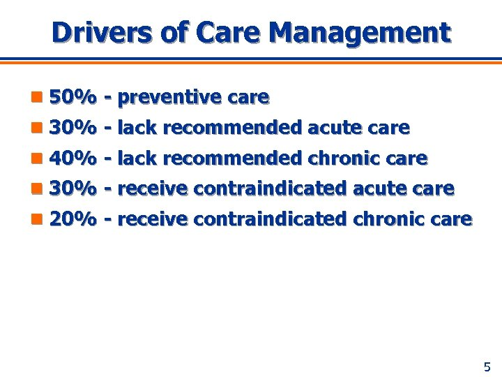 Drivers of Care Management n 50% - preventive care n 30% - lack recommended