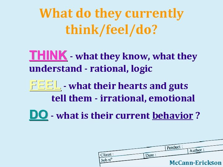 What do they currently think/feel/do? THINK - what they know, what they understand -