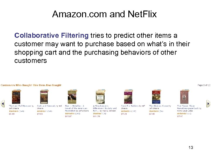 Amazon. com and Net. Flix Collaborative Filtering tries to predict other items a customer