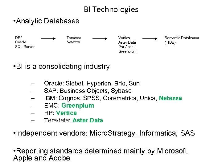 BI Technologies • Analytic Databases DB 2 Oracle SQL Server Teradata Netezza Vertica Aster