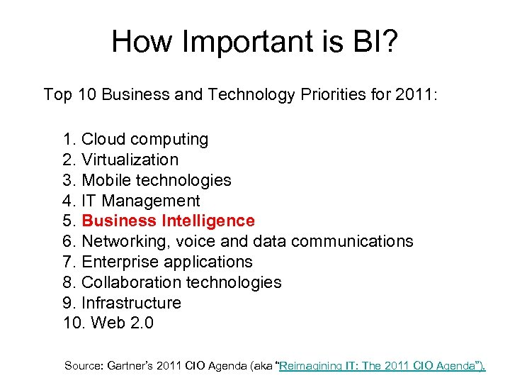 How Important is BI? Top 10 Business and Technology Priorities for 2011: 1. Cloud