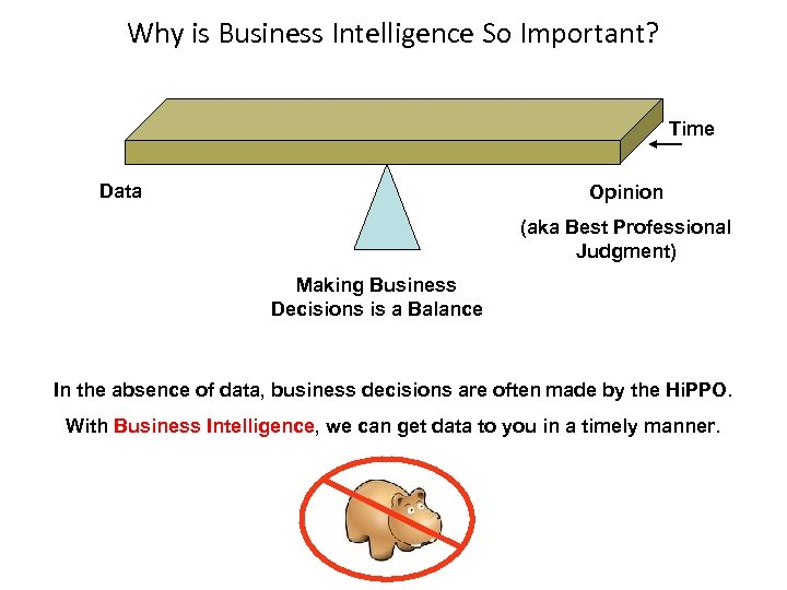 Why is Business Intelligence So Important? Time Data Opinion (aka Best Professional Judgment) Making