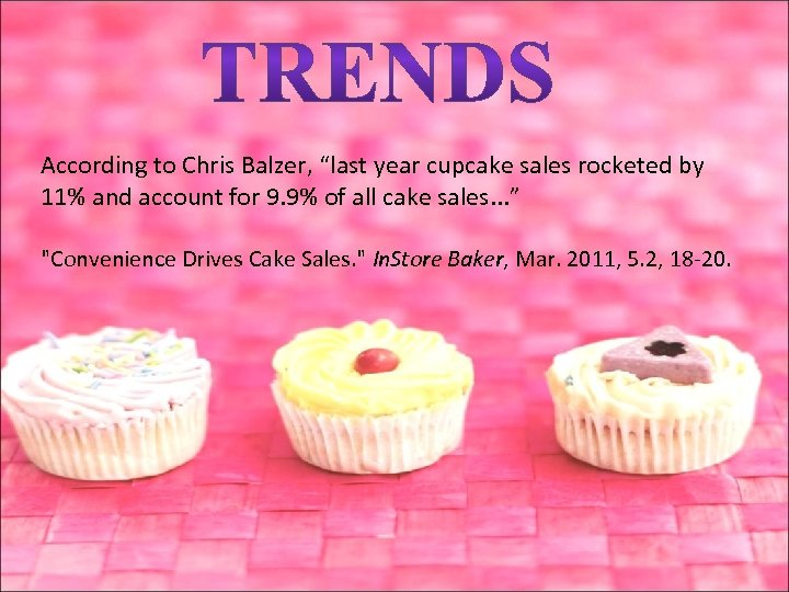 "According to Chris Balzer, ""last year cupcake sales rocketed by 11% and account for"
