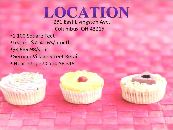 231 East Livingston Ave. Columbus, OH 43215 • 1, 100 Square Feet • Lease