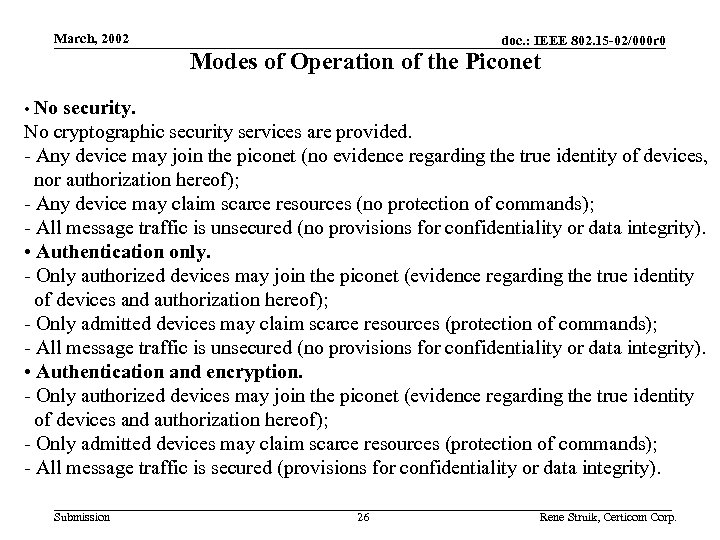 March, 2002 doc. : IEEE 802. 15 -02/000 r 0 Modes of Operation of