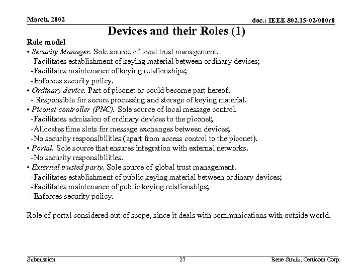 March, 2002 Devices and their Roles (1) doc. : IEEE 802. 15 -02/000 r