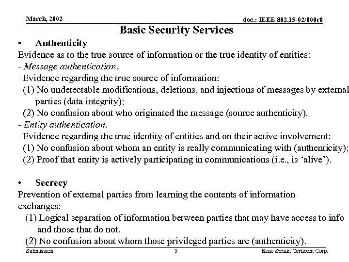 March, 2002 Basic Security Services doc. : IEEE 802. 15 -02/000 r 0 •