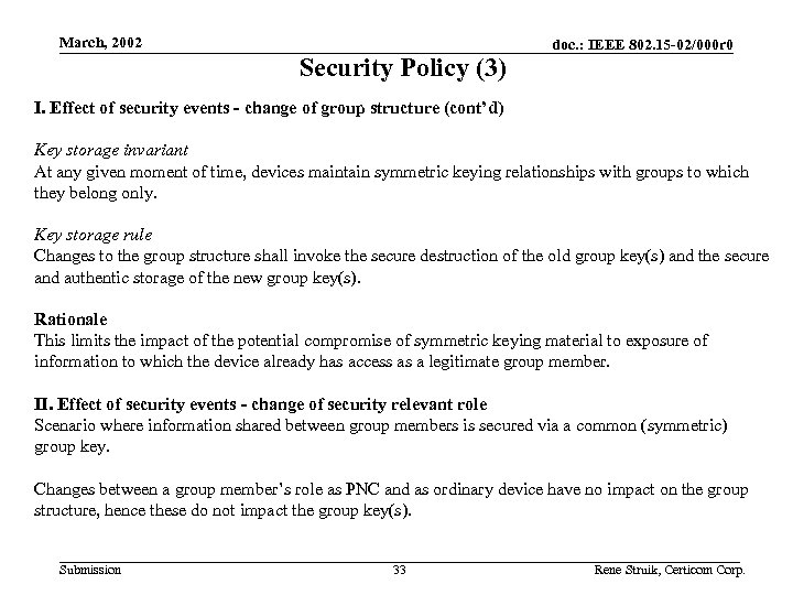 March, 2002 Security Policy (3) doc. : IEEE 802. 15 -02/000 r 0 I.