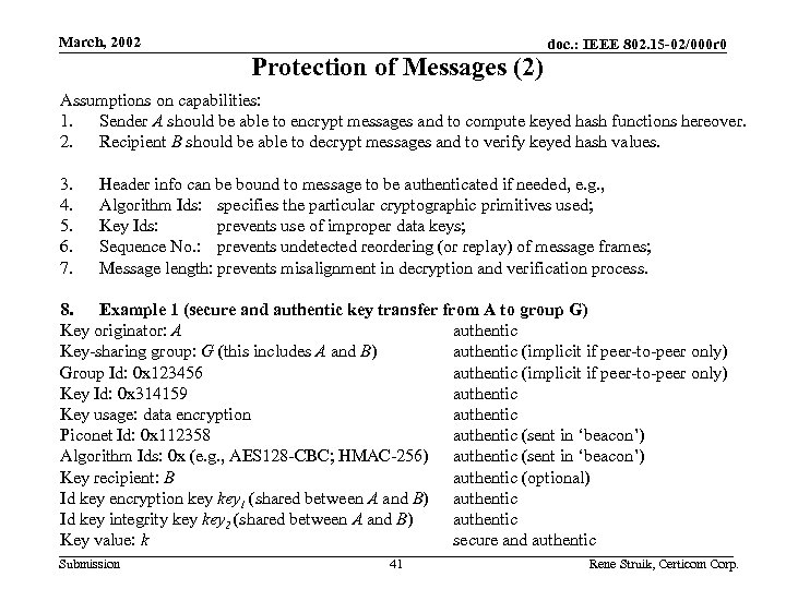 March, 2002 Protection of Messages (2) doc. : IEEE 802. 15 -02/000 r 0