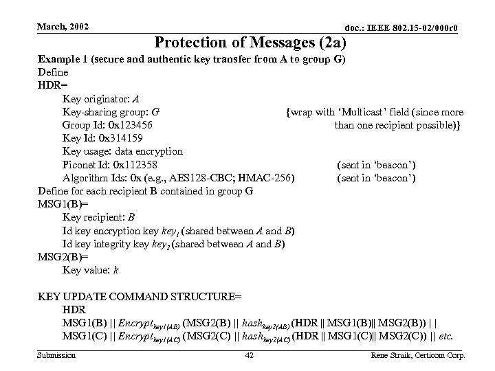 March, 2002 doc. : IEEE 802. 15 -02/000 r 0 Protection of Messages (2