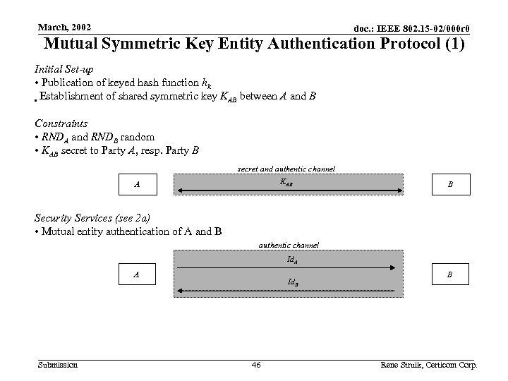 March, 2002 doc. : IEEE 802. 15 -02/000 r 0 Mutual Symmetric Key Entity