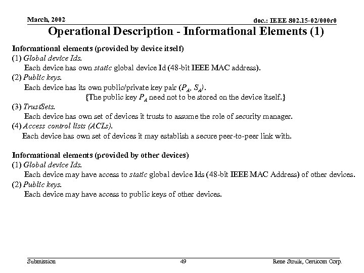 March, 2002 doc. : IEEE 802. 15 -02/000 r 0 Operational Description - Informational
