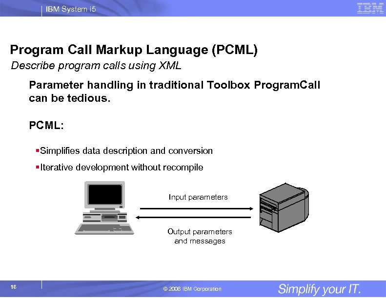IBM System i 5 Program Call Markup Language (PCML) Describe program calls using XML