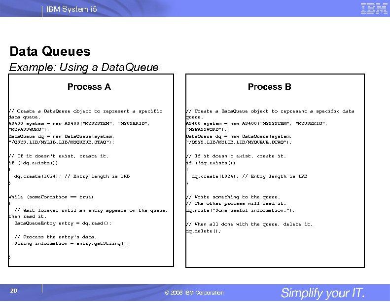 IBM System i 5 Data Queues Example: Using a Data. Queue Process A Process
