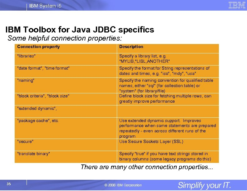 IBM System i 5 IBM Toolbox for Java JDBC specifics Some helpful connection properties: