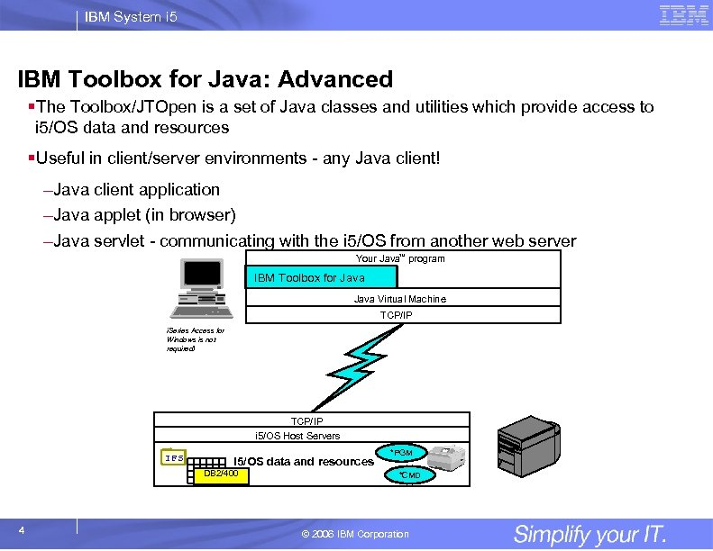 IBM System i 5 IBM Toolbox for Java: Advanced §The Toolbox/JTOpen is a set