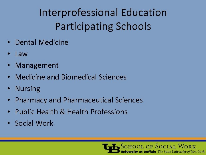 Interprofessional Education Participating Schools • • Dental Medicine Law Management Medicine and Biomedical Sciences