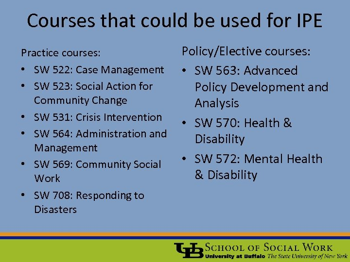 Courses that could be used for IPE Practice courses: • SW 522: Case Management