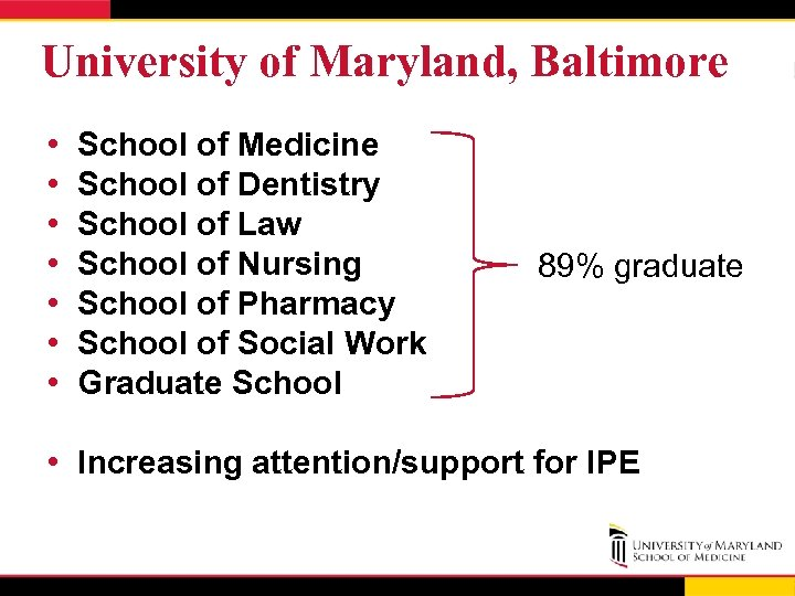 University of Maryland, Baltimore • • School of Medicine School of Dentistry School of