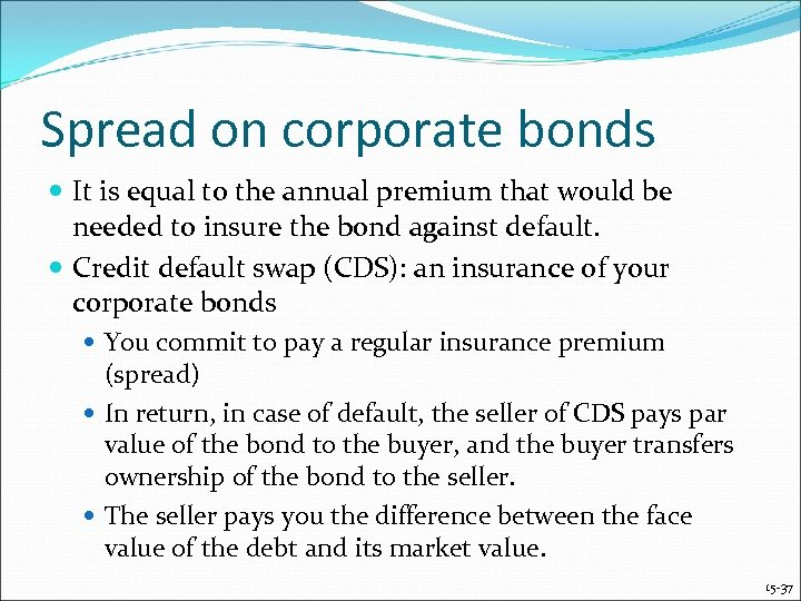 Spread on corporate bonds It is equal to the annual premium that would be