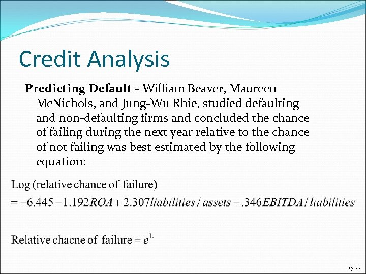Credit Analysis Predicting Default - William Beaver, Maureen Mc. Nichols, and Jung-Wu Rhie, studied
