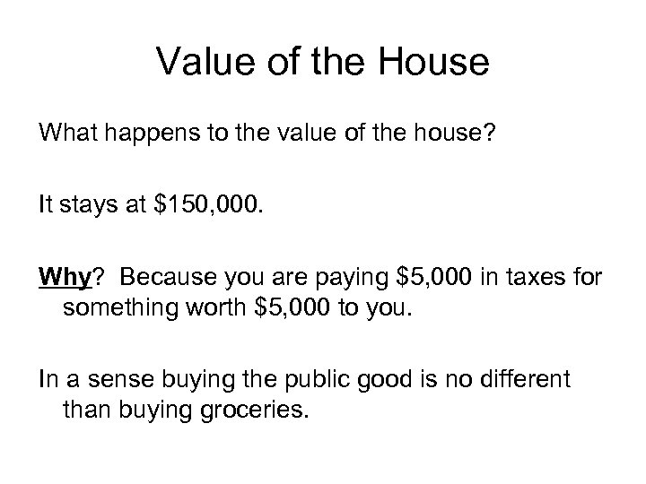 Value of the House What happens to the value of the house? It stays
