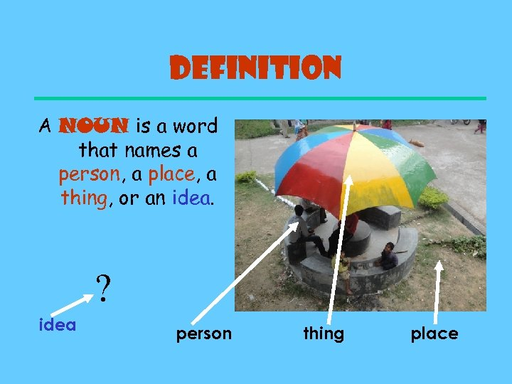 Definition A NOUN is a word that names a person, a place, a thing,